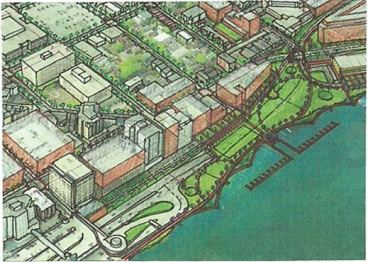 An illustration of the project area from the Madison Design Professionals Workgroup, who has proposed the decking of John Nolen Drive and Blair Street through the Wilson-Williamson intersection