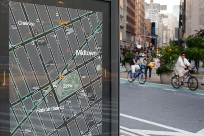 This new street map design is helpful for most pedestrians, but does it make navigation easier for blind or vision-impaired people? (credit: https://new.pentagram.com/2013/06/new-work-nyc-wayfinding/)