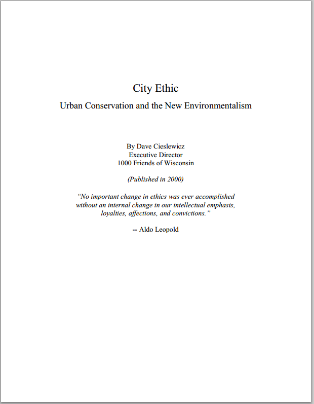 city ethic City Ethic   Urban Conservation and the New Environmentalism