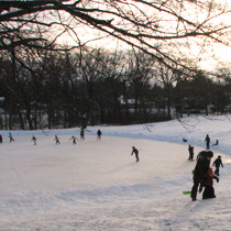 Westmorland Park in Madison: a surface-flooded ice rink