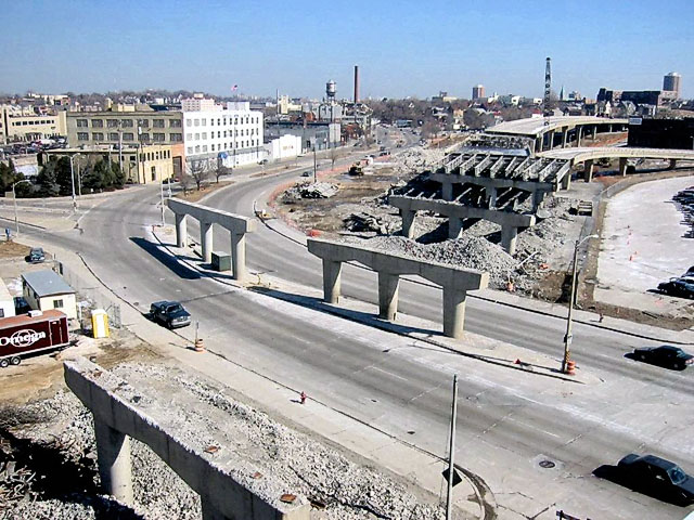 After photo of Milwaukee highway being taken down