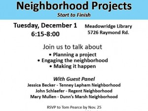 Join us Dec. 1- Neighborhoods Projects: Start to Finish