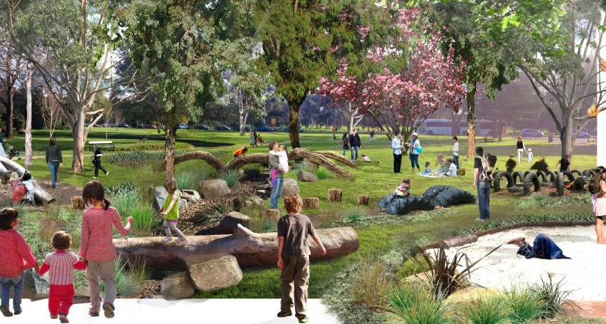 Rendering of playground with green infrastructure by Alex Ricketts.