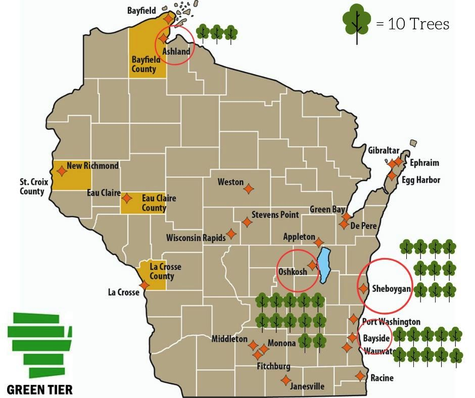 Map of trees planted