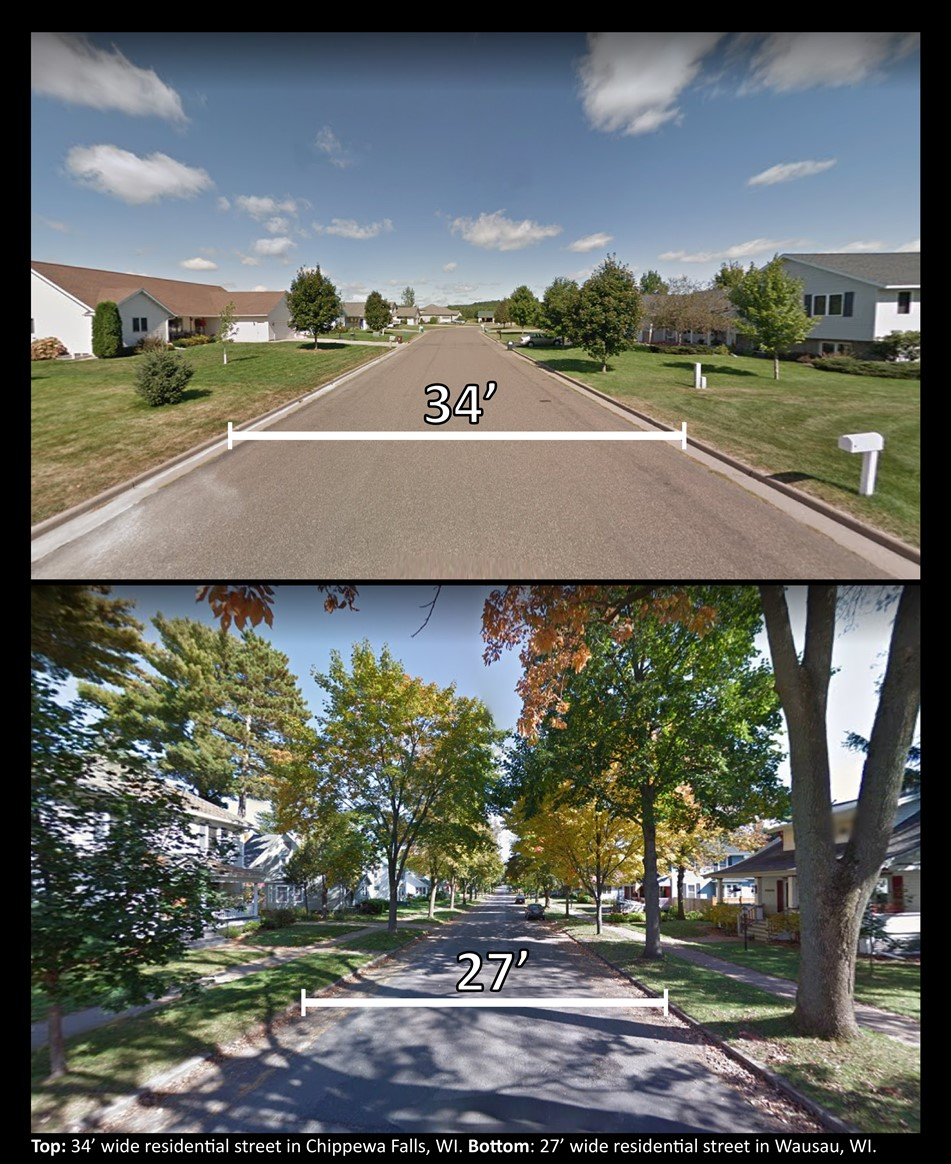 graphic comparing street widths of 27' vs 34'