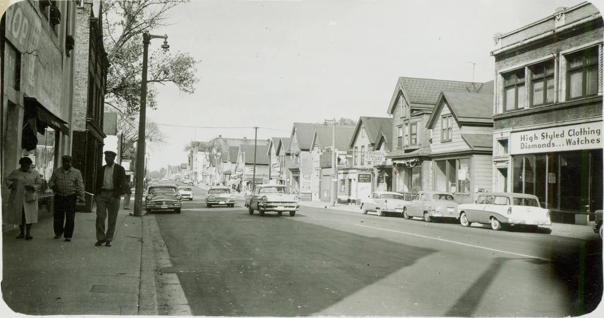 Bronzeville circa 1958 – Subtitle: Photo of the Bronzeville neighborhood circa 1958, near 12th and Walnut Street. Photo courtesy of the Milwaukee Public Library