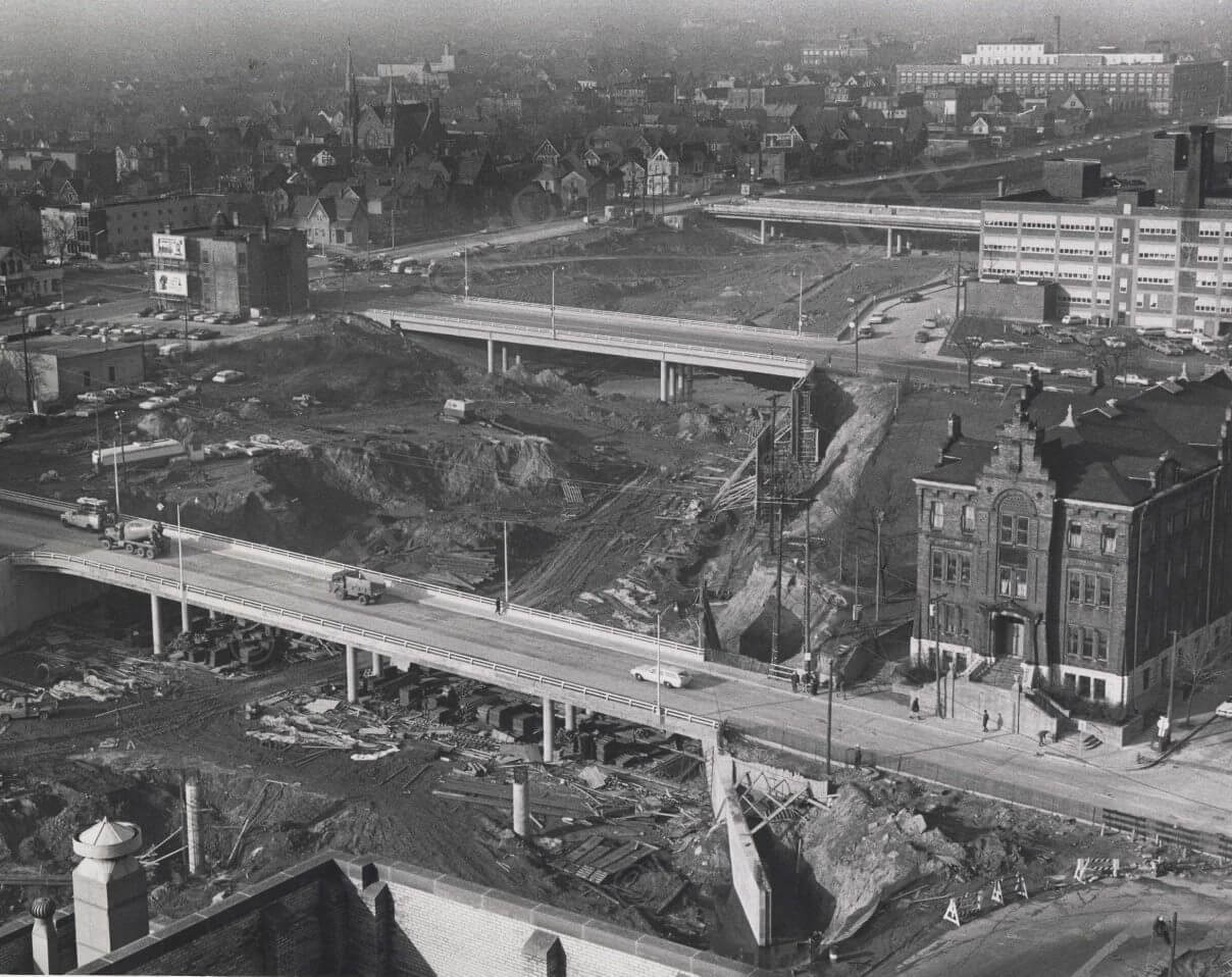 Milwaukee County Courthouse looking North – Subtitle: Photo of I-43 as it cuts through the Bronzeville neighborhood taken from the Milwaukee County Courthouse looking North. Photo courtesy of the Milwaukee County Historical Society