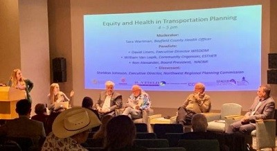 Panelists discuss the role of health and equity in transportation planning at the Rural Transportation Summit in Bayfield.