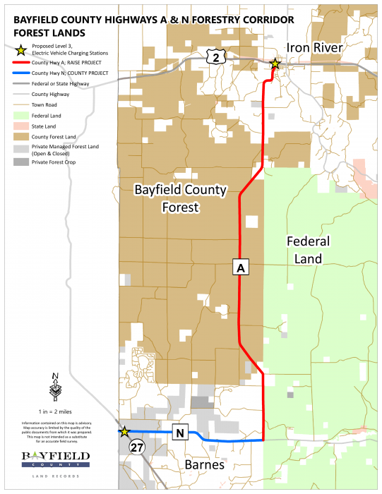 A map showing Bayfield County's project to repair local roads and add electric vehicle charging stations at either end.