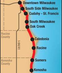 A map of the draft KRM commuter rail line that connects Kenosha, Racine, and Milwaukee along with more stops in between.