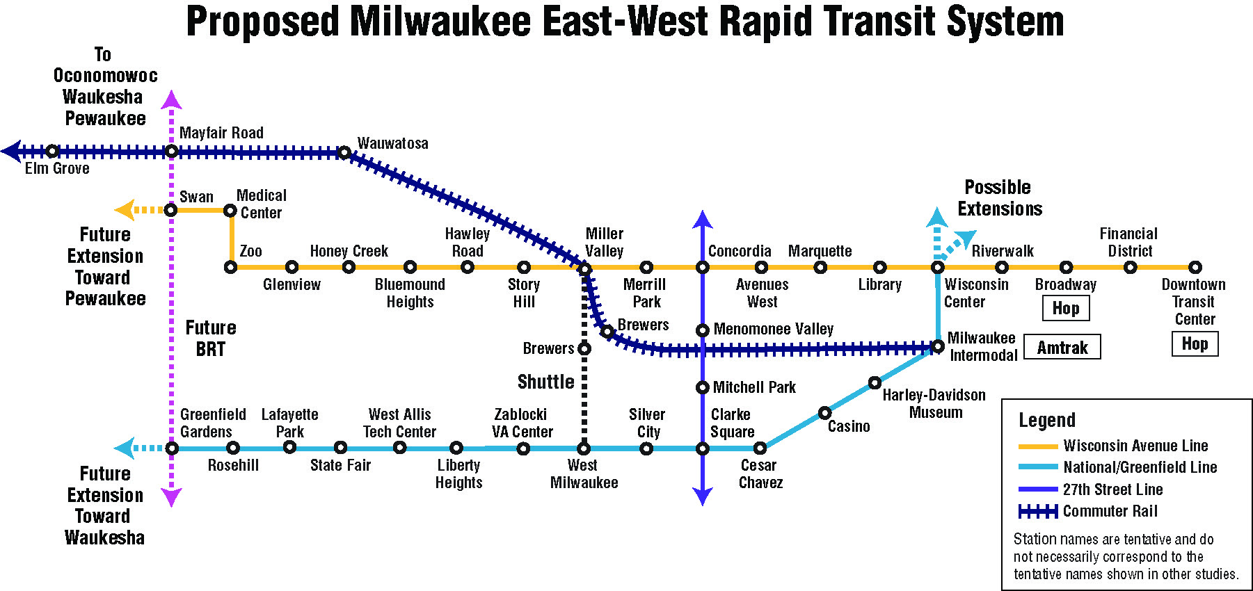 Transit map of two BRT routes going East and West, commuter rail leaving Milwaukee's intermodal station and other north-south BRT connections